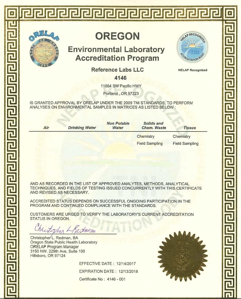 Oregon Environmental Laboratory Accreditation Program  Reference Labs LLC 4146
